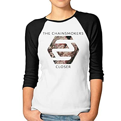 JXMD Women's Closer The Chainsmokers Featuring Halsey Tee Black