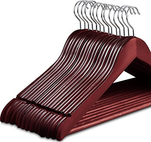 Zoyer Wood Suit Hangers (20 Pack) - Premium Quality Wooden Coat Hangers - Strong & Durable Suit Hangers - Cherry