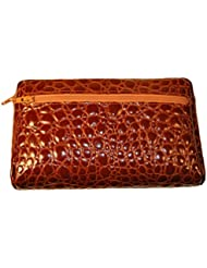Budd Leather Croco Bidente Cosmetic Case, Cognac