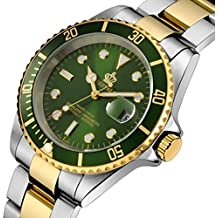 Rotatable Bezel Stainless Steel Quartz Waterproof Calendar Luminous Men Watches Silver Gold Green