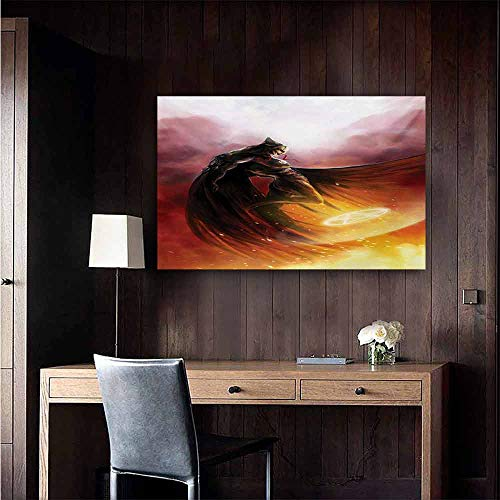 duommhome Fantasy World Modern Frameless Painting Superhero in His Original Costume Flying Up Magic Flame Save The World Theme Bedroom Bedside Painting 35