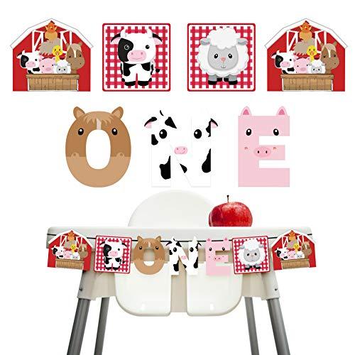 KREATWOW Farm Animal 1st Birthday - Barnyard First Birthday Banner for Kids Birthday Party High Chair Decorations