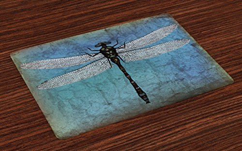 Ambesonne Dragonfly Place Mats Set of 4, Grunge Vintage Old Backdrop and Dragonfly Bug Ombre Image, Washable Fabric Placemats for Dining Room Kitchen Table Decor, Dark Blue Turquoise and Black
