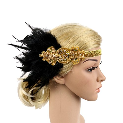 ACTLATI 1920s Flapper Headpiece Feather Great Gatsby Hair