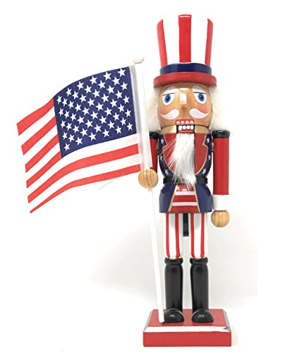 Nantucket Home Wooden Christmas Nutcracker Decor, 10-Inch (Uncle Sam Americana) ()