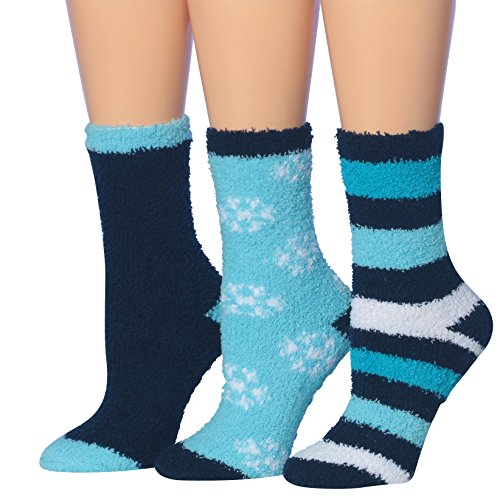 Socks Fuzzy Dot (Tipi Toe Women's 3-Pairs Winter Snoflakes Anti-Skid Soft Fuzzy Crew Winter Socks, (sock size 9-11) Fits shoe size 6-10, FZ08-B)
