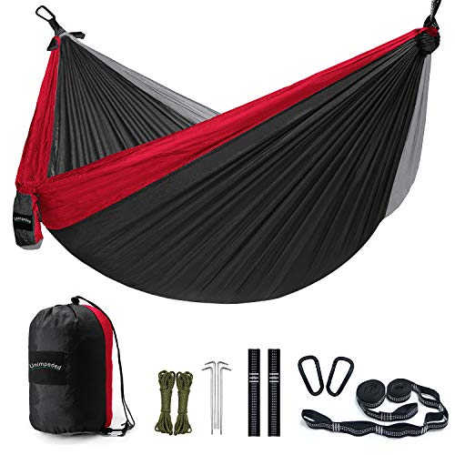 - Unimpeded Camping Hammock Multi-Functional Single&Double Portable Hammock with Heavy Duty Straps&Carabiners - Lightweight Nylon Parachute Hammock with Many Accessories for Travel, Backpacking, Camp