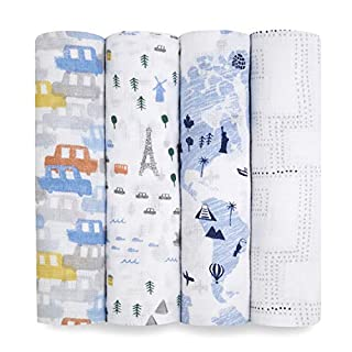 aden + anais Essentials Swaddle Blanket, Muslin Blankets for Girls & Boys, Baby Receiving Swaddles, Infant Baby Gift, Swaddling Set, 4 Pack, Little Big World