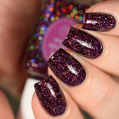 Garnet - burgundy glitter holographic nail polish by Cupcake Polish