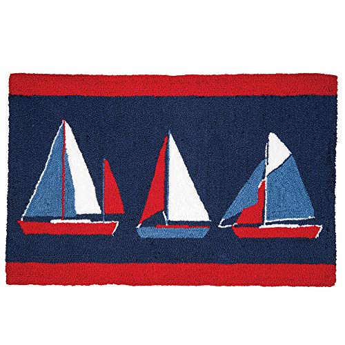 Bella Coastal Decor Sailing Trio Hooked Rug - Overstock