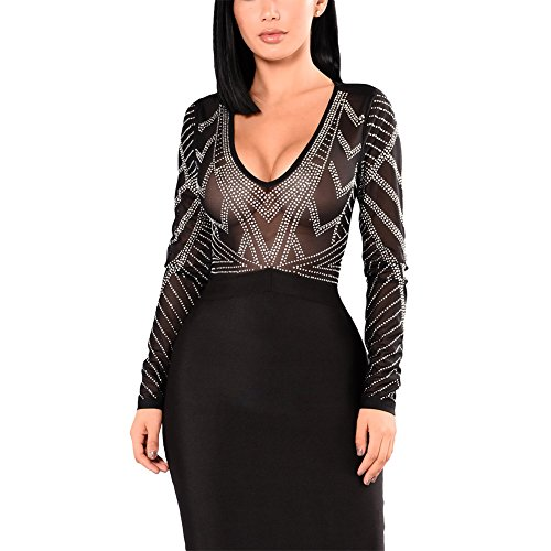 Luluka Women's Sexy Lace Patchwork Bodycon Bandage Party Midi Club Dress US Large Black