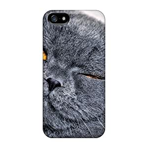Mialisabblake Scratch-free Phone Case For Iphone 5/5s- Retail Packaging - Animals Cats Cat Eyes Shut