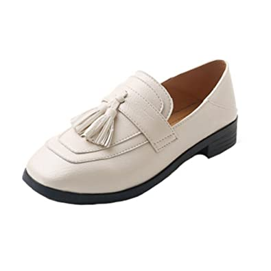 d0e9c57755e GIY Women s Classic Penny Loafers Tassel Flat Moccasin Square Toe Slip-On  Casual Dress Loafer
