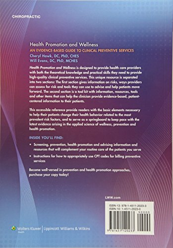 Health Promotion and Wellness: An Evidence-Based Guide to Clinical Preventive Services Back Cover