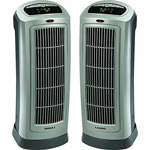 Lasko 2-Pack Ceramic Tower Heater Digital Display & Remote Control - 755320