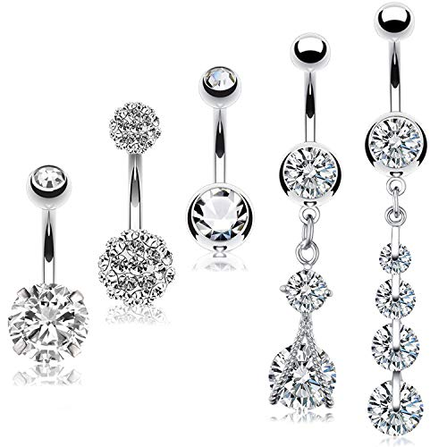 BodyJ4You 5PC Belly Button Rings Disco Ball CZ Long Dangle Steel Bar 14G Women Navel Piercing