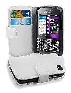 Cadorabo Blackberry Q10 Funda de Cuero Sintético ESTRUCTURA en BLANCO MAGNESIO Cubierta Protectora Estilo Libro con Cierre Magnético, Tarjetero y Función de ...