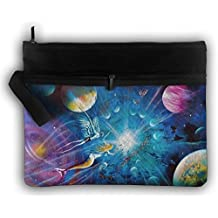 LALIAN Amazing Galaxy Universe Planet Zipper Printing Waterproof Fabric Cosmetic Bags Portable Travel Toiletry Pouch Makeup Organizer Clutch Bag