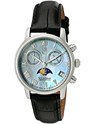 S. Coifman Womens Lady Swiss Quartz Stainless Steel and Leather Watch, Color:Black (Model: SC0355)