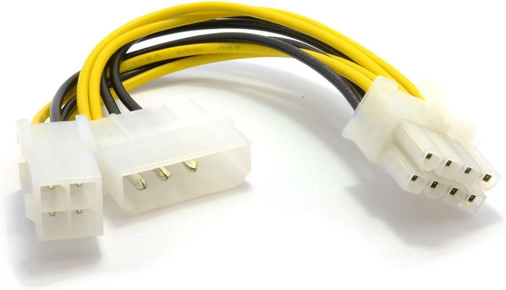 4 Pines ATX & 4 Pines LP4 Molex A 8 Pines EPS Energía Adaptador Cable
