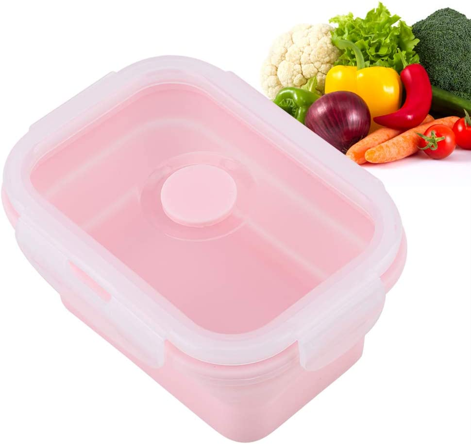 4 Size Silicone Collapsible Portable Lunch Box Bowl Bento Boxes Eco-Friendly Folding Food Container Lunchbox 350/500/800/1200ml(Pink 350ml)