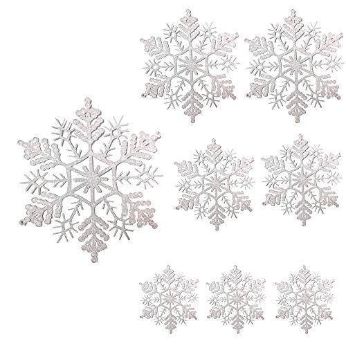BANBERRY DESIGNS White Snowflake Ornaments - Set of 8 Assorted Sized Glittered Snowflakes with Strings Attached- Hanging Glitter Snow Flakes