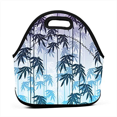 Portable Lunch Bag Tote Floral Bamboo Neoprene Lunch Handbag Food Zipper Storage Lunch Box For Men Women Kids