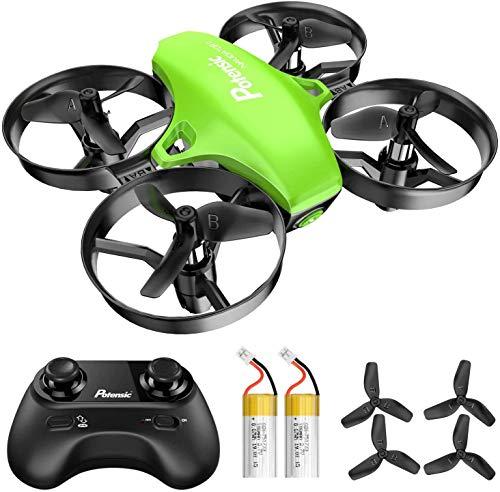 Potensic Mini Drone RC Helicopter Quadcopter para Ninos y Principiantes con Control Remoto, Modo sin Cabeza, la Funcion de Suspension de Altitud, 3 Modos de Velocidad, 2 Baterias, A20 Verde