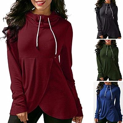 Jushye Women's Hoodies, Ladies Hoodie Top Sweatshirt Plaid Long Sleeve Pullover Irregular Jumper Blouse T Shirt