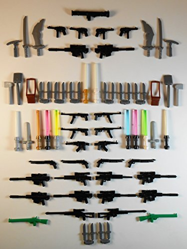 69 Guns for Lego Minifigures. GLOW IN THE DARK Lightsabers Swords Knifes Sniper Rifle Toys Batman Star Wars