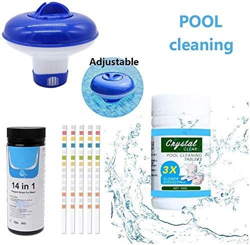 Anjinguang 5 en 1 dispensador de cloro para piscinas y pastillas de cloro 14 en 1 tiras de prueba dispensador flotante para piscinas, spa, jacuzzi, remo químicoAjustable+100 blanco+50 tiras de prueba: Amazon.es: Jardín