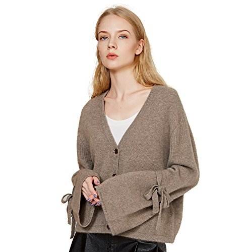 Chesslyre Camel Cashmere Cardigan Women,Classic Girls Tan V Neck Button Down Tunic Cardigan Pure Cashmere 100 Sweater Women ()