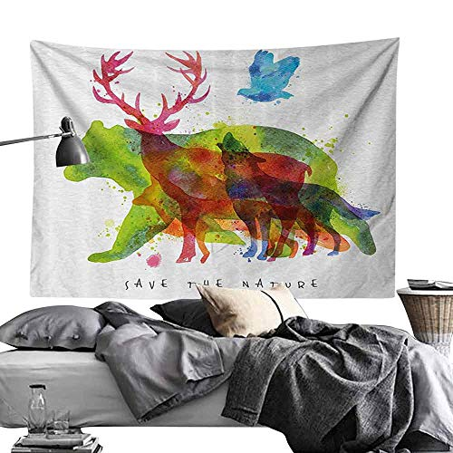 Homrkey Smooth and Smooth Tapestry Animal Decor Alaska Animals Bears Wolfs Eagles Deers in Abstract Colored Shadow Like Print Hippie Tapestry W90 x L59 Multicolor
