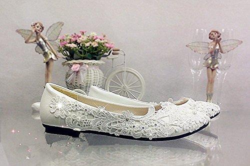 zapatos bomba 12 JINGXINSTORE plano US marfil talón Cordón boda de Tamaño de Crystal Marfil 5 nupcial 7 5 qAt6PA