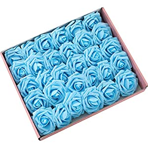 DerBlue 60pcs Artificial Roses Flowers Real Looking Fake Roses Artificial Foam Roses Decoration DIY for Wedding Bouquets Centerpieces,Arrangements Party Home Decorations 7