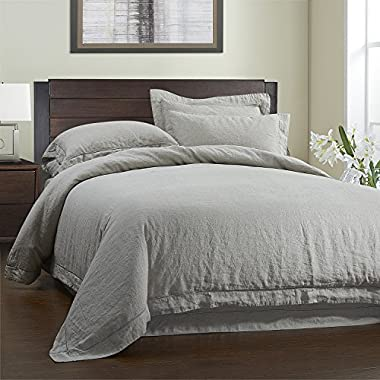 Simple&Opulence 100% Linen Duvet Cover Set 3 Piece White Grey Solid Wash Queen Size (1 Duvet Cover, 2 Pillowcases)