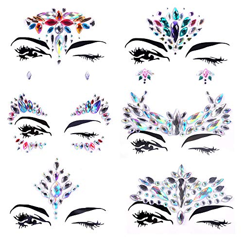 Face Jewels Festival Gems Face Rhinestones Glitter Mermaid Rave Face Stickers Tatoos Kit for Christmas Party Music Festival ()