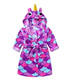 TOLLION Toddlers/Kids Hooded Girls Animal Fleece Bathrobe Boys Plush Robe Pajamas Sleepwear (3T, Unicorn Purple)