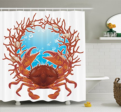 Sea Coral Branch (Seashells Decor Shower Curtain Set By Ambesonne, Crab Spiral Seashells And Red Coral Frame Aquarium Cockleshell Branch Bubbles Claws Nature, Bathroom Accessories, 75 Inches Long)