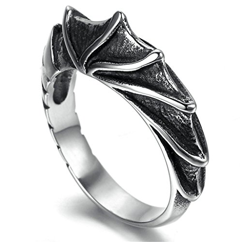 Eagle Wings Costume Uk (Stainless Steel Ring for Men, Wing Ring Gothic Black Band Silver Band 10MM Size 10 Epinki)