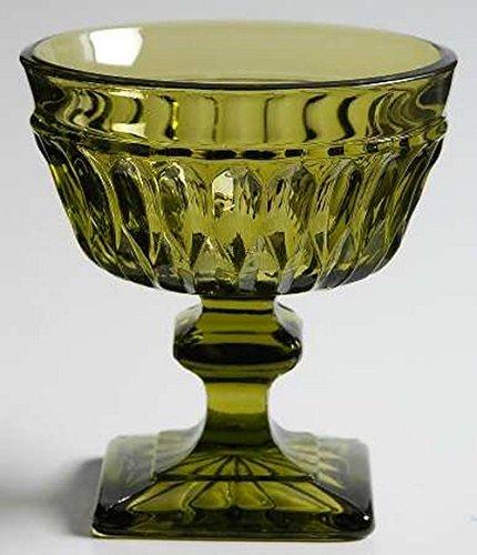 Vintage Avocado Green Indiana Glass Mt. Vernon Square Pedestal Base Sherbet Champagne Glass