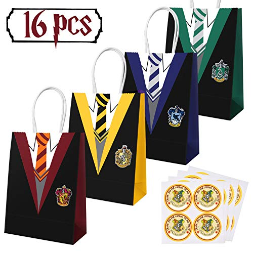 16 PCS Magical Wizard School Favors Bags for Children Birthday Party Supplies,Dress Up Novelty Decorations with 16 PCS Magical Wizard School Stickers Name Tags Labels