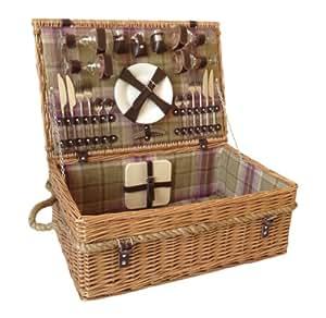 Thyme & Season - Cesta de picnic para 4 personas, incluye cubiertos y otros accesorios