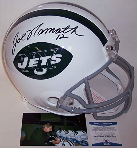 Joe Namath Autographed Hand Signed New York Jets Throwback Authentic Full Size Pro Helmet - BAS ()