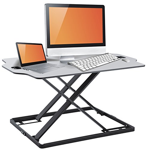Standing Desk Fully Assembled Sit Stand Desk Converter Ergonomic Adjustable Height Desk, Low Profile Sturdy Office Desk Stand, Smooth Transition from 1 to 16 Inches, 31 X 21'' working Computer Space by Husky Mounts