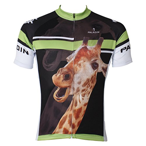 PaladinSport Men's Giraffe Pattern Short Sleeve Pro Cycling Jerseys Ciclismo Ropa Asian Size (Sobike Cycling Fleece)