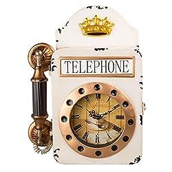 Creative Home Distressed Metal Wall Retro Telephone Shape Clock, Off-White