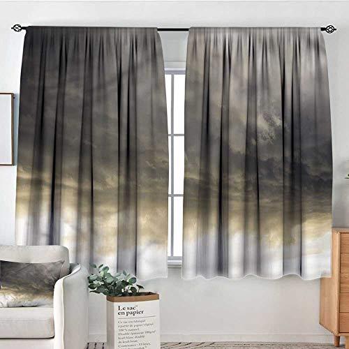 "Clouds,Kids Decor Indo Curtain Drape Cloudy Dark Sky Hurricane 104""x108"" Print Decorative Curtains"