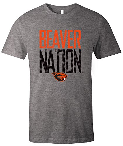 Image One NCAA Oregon State Beavers Adult Unisex NCAA Dotted Phrase Short sleeve Triblend (Oregon State Basketball)