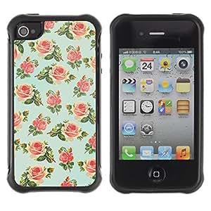 Suave TPU GEL Carcasa Funda Silicona Blando Estuche Caso de protección (para) Apple Iphone 4 / 4S / CECELL Phone case / / mint green floral rose wallpaper retro /